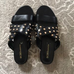 Black Sandal with Gold Studs